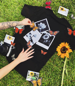 Butterfly Flower Polaroid Tee - Black - Yours Truly Clothing