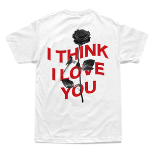 I Think I Love You Warp Tee - White - Yours Truly Clothing