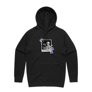Lavender Love Skeleton Hoodie - Black - Yours Truly Clothing