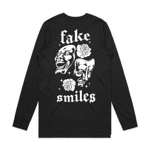 Fake Smiles Mask Long Sleeve - Black - Yours Truly Clothing