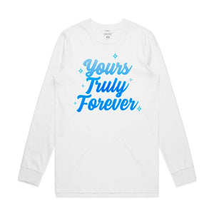 Yours Truly Forever Blue Airbrush Long Sleeve - White - Yours Truly Clothing