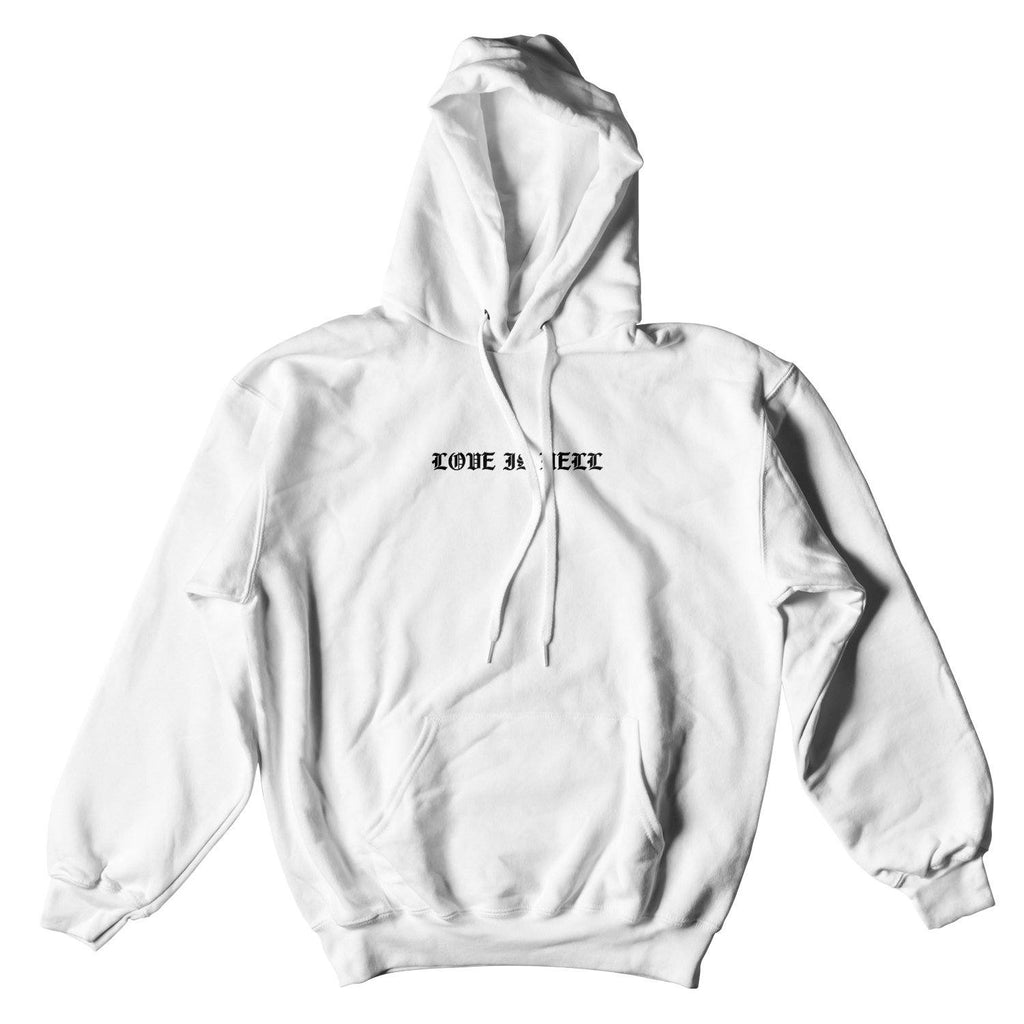 LOVE IS HELL HOUND HOODIE - WHITE