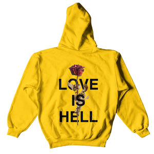 Love Is Hell Hoodie - Yellow - Yours Truly Clothing