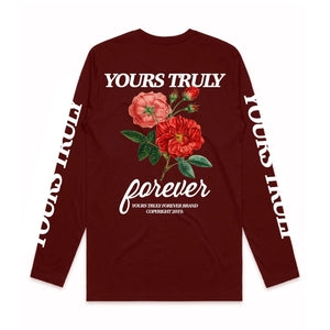 Yours Truly Aloha Long Sleeve - Burgundy - Yours Truly Clothing