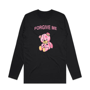 Forgive Me Pink Teddy Long Sleeve - Black - Yours Truly Clothing