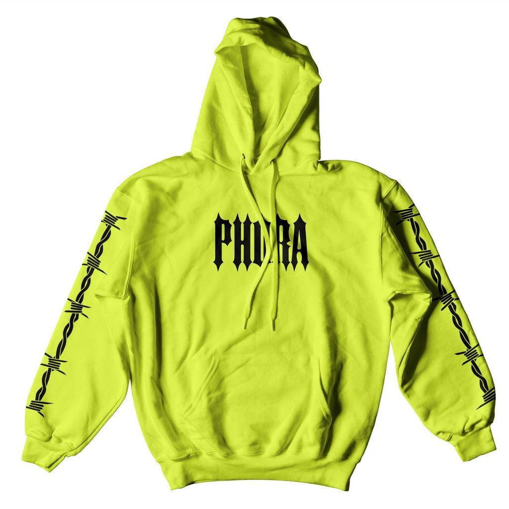 PHORA BARBED WIRE HOODIE - NEON GREEN