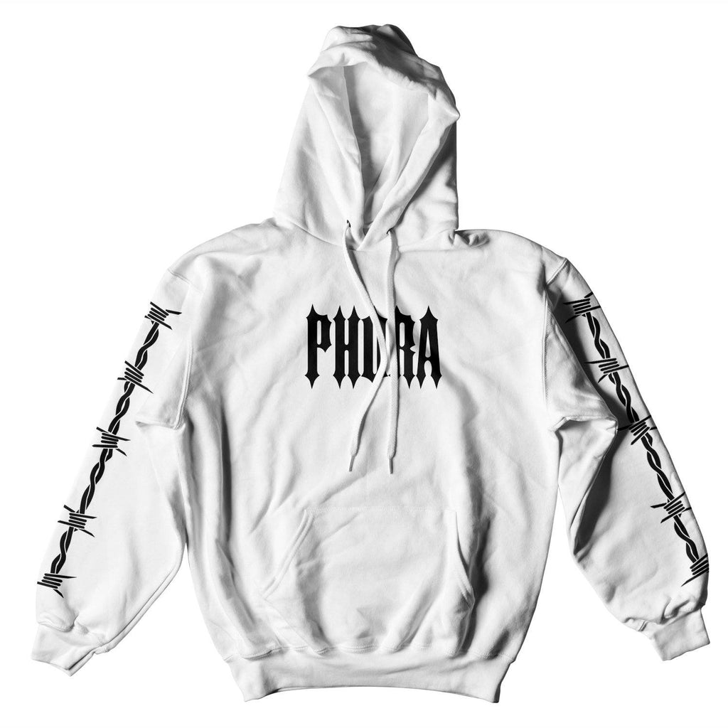 PHORA BARBED WIRE HOODIE - WHITE