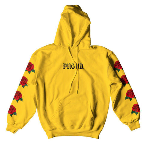 PHORA RED ROSE HOODIE - YELLOW