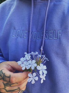 Love Yourself Embroidered Hoodie - Purple - Yours Truly Clothing