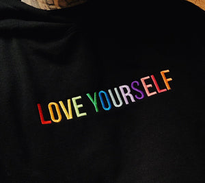 Love Yourself Rainbow Embroidered Hoodie - Black - Yours Truly Clothing