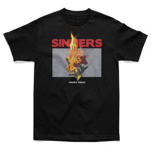 Burning Sinners Tee Black - Yours Truly Clothing