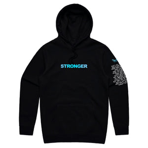 STRONGER HOODIE - BLACK - Yours Truly Clothing