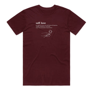 Meaning of Self-Love Tee - Burgundy - Yours Truly Clothing