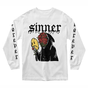 Sad Sinner Long Sleeve - White - Yours Truly Clothing