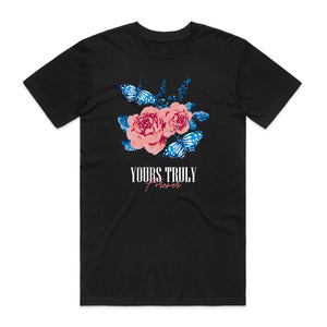 Yours Truly Forever Blue Butterfly Roses Tee - Black - Yours Truly Clothing