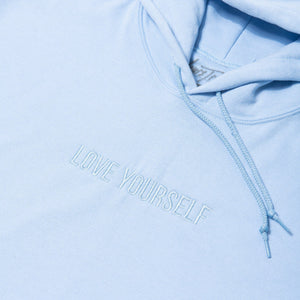 Love Yourself Embroidered Hoodie - Blue - Yours Truly Clothing