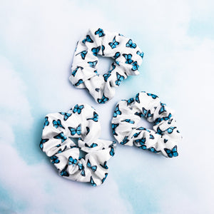 Blue Butterfly White Scrunchie - Yours Truly Clothing