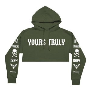 YOURS TRULY ROCKER CROP HOODIE - OLIVE - Yours Truly Clothing