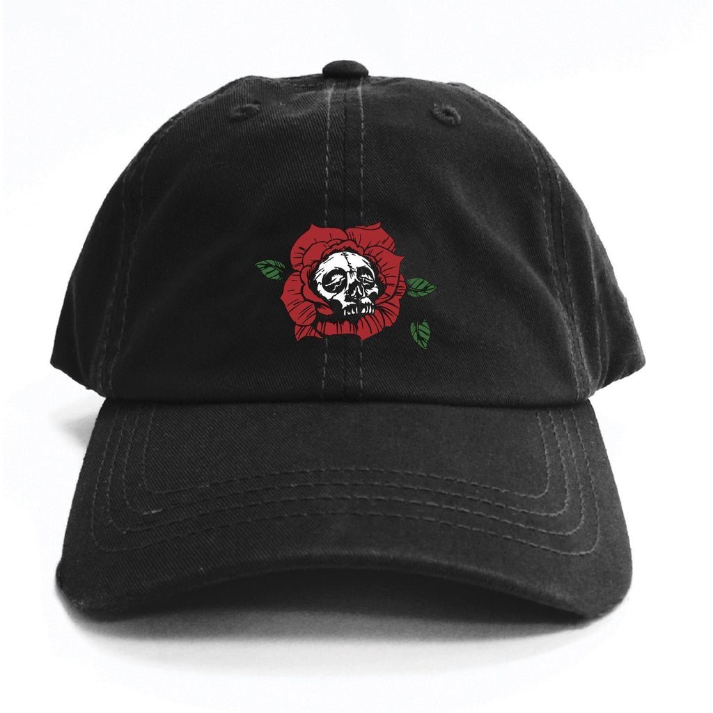 HAT - SKULL ROSE DAD HAT - BLACK