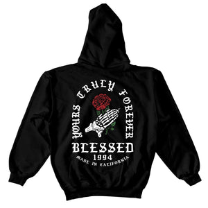 Praying Rose Hoodie - Black - Yours Truly Clothing