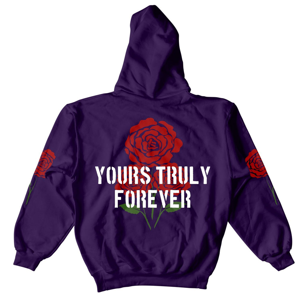HOODIE - YOURS TRULY FOREVER ROSES HOODIE - PURPLE