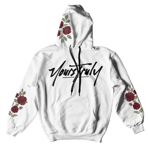 HOODIE - YOURS TRULY LOGO ROSES HOODIE - WHITE