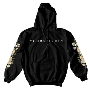 HOODIE - YOURS TRULY WHITE ROSES HOODIE - BLACK