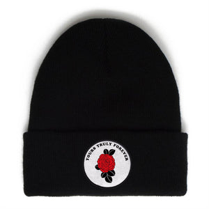 YT Forever Rose Patch Beanie Yours Truly Clothing