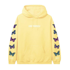 Broken Butterfly Hoodie - Flower Child Yellow - Yours Truly Clothing