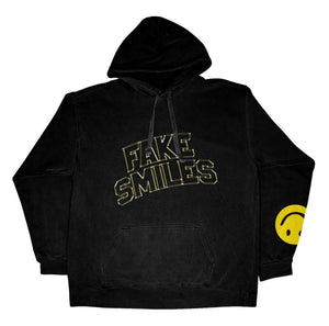GOLDEN SMILE HOODIE - BLACK - Yours Truly Clothing