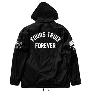 JACKETS - EXCLUSIVE YOURS TRULY FORCE COACH JACKET W/ FLEECE HOOD - BLACK