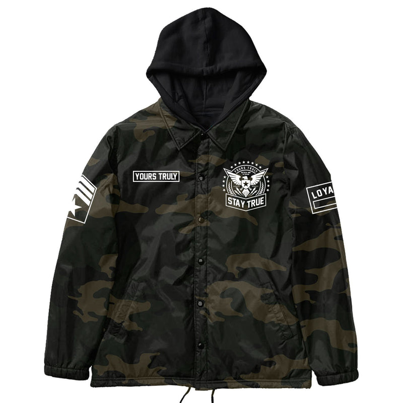JACKETS - EXCLUSIVE YOURS TRULY FORCE COACH JACKET W/ FLEECE HOOD - CAMO