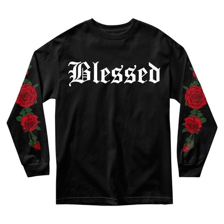 MEN'S LONG SLEEVE TEE - BLESSED ROSES LONG SLEEVE - BLACK