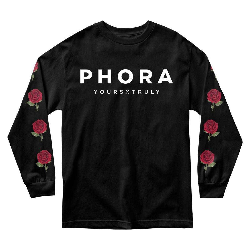 MEN'S LONG SLEEVE TEE - PHORA YOURS TRULY ROSES LONG SLEEVE - BLACK