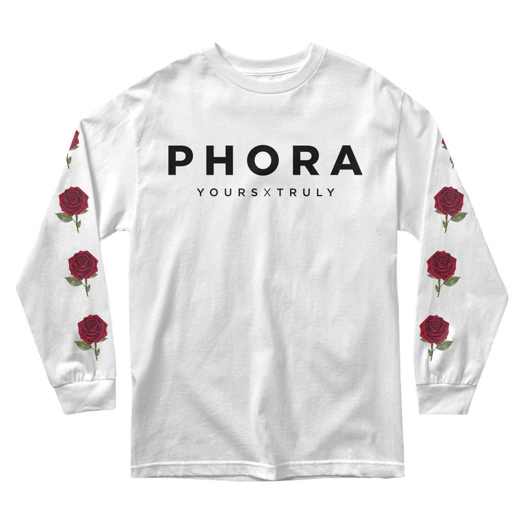MEN'S LONG SLEEVE TEE - PHORA YOURS TRULY ROSES LONG SLEEVE - WHITE