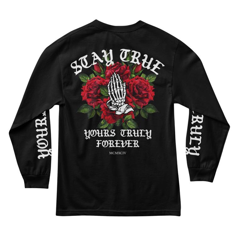 MEN'S LONG SLEEVE TEE - STAY TRUE PRAYING ROSES LONG SLEEVE - BLACK