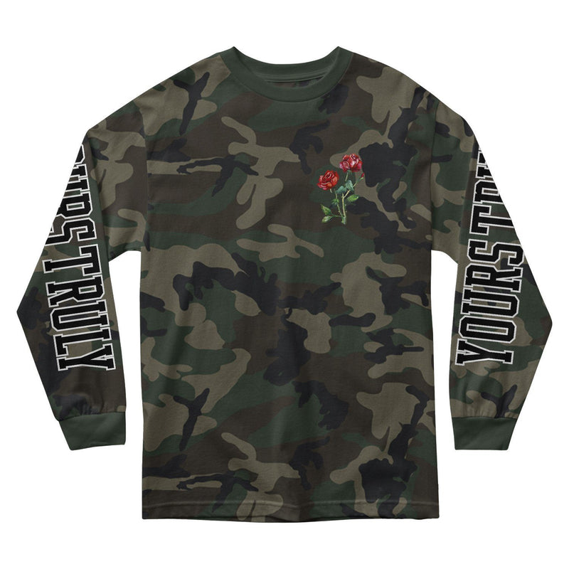 MEN'S LONG SLEEVE TEE - YOURS TRULY CAMO ROSE LONG SLEEVE - CAMO