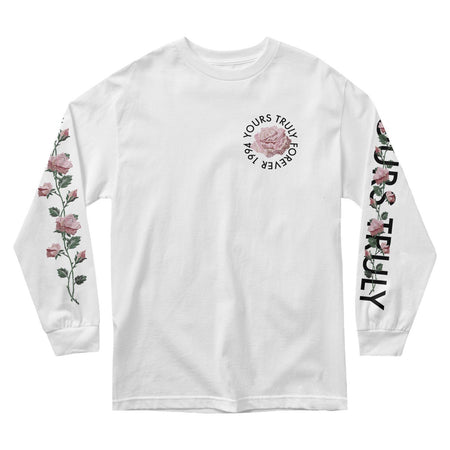 MEN'S LONG SLEEVE TEE - YOURS TRULY FOREVER 1994 PINK ROSES LONG SLEEVE - WHITE