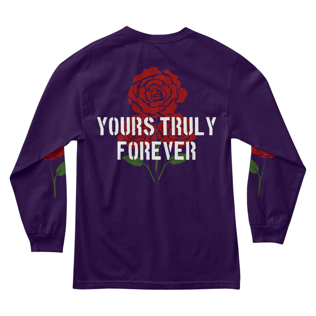 MEN'S LONG SLEEVE TEE - YOURS TRULY FOREVER ROSES LONG SLEEVE - PURPLE