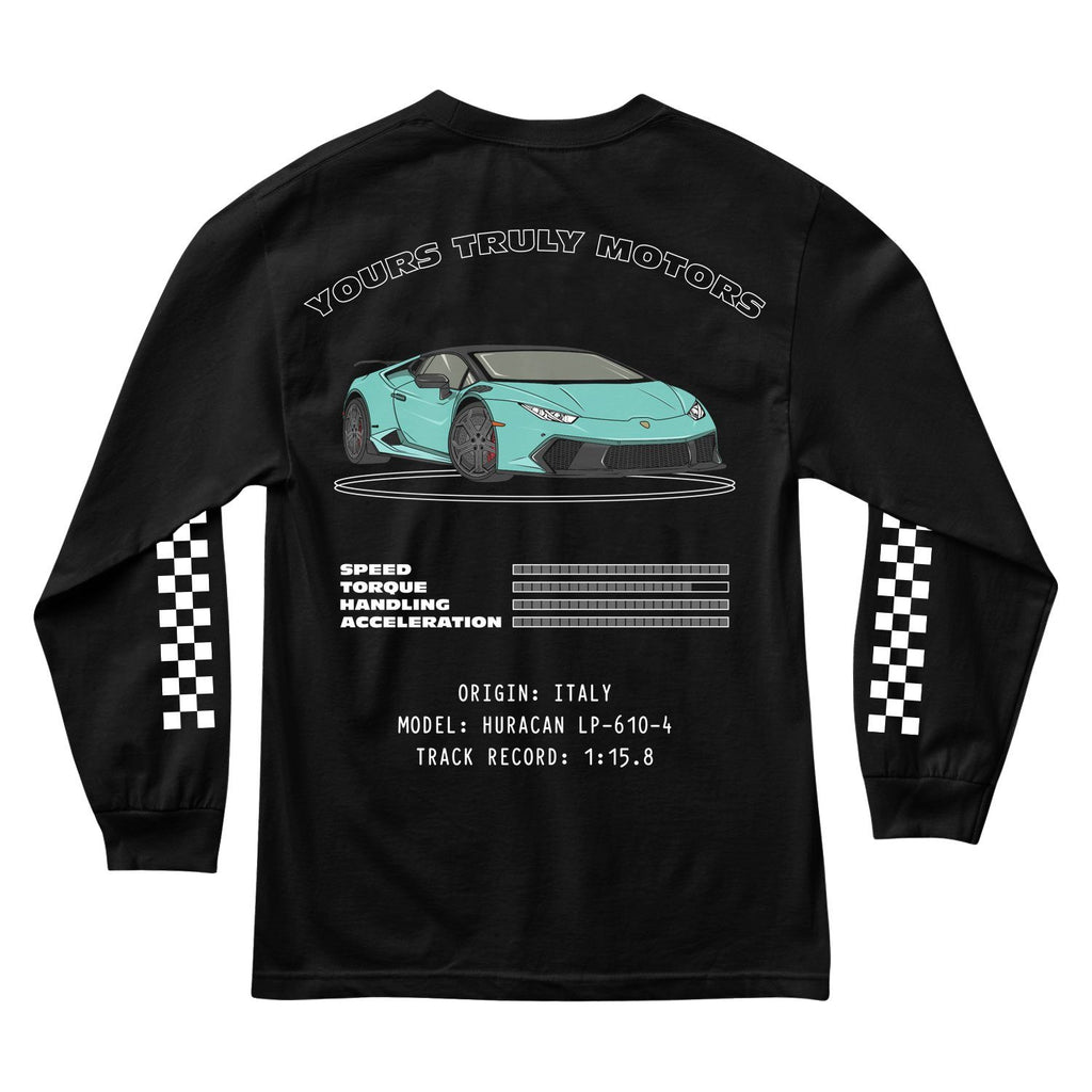 MEN'S LONG SLEEVE TEE - YOURS TRULY MOTORS: ITALY DIVISION LONG SLEEVE - BLACK