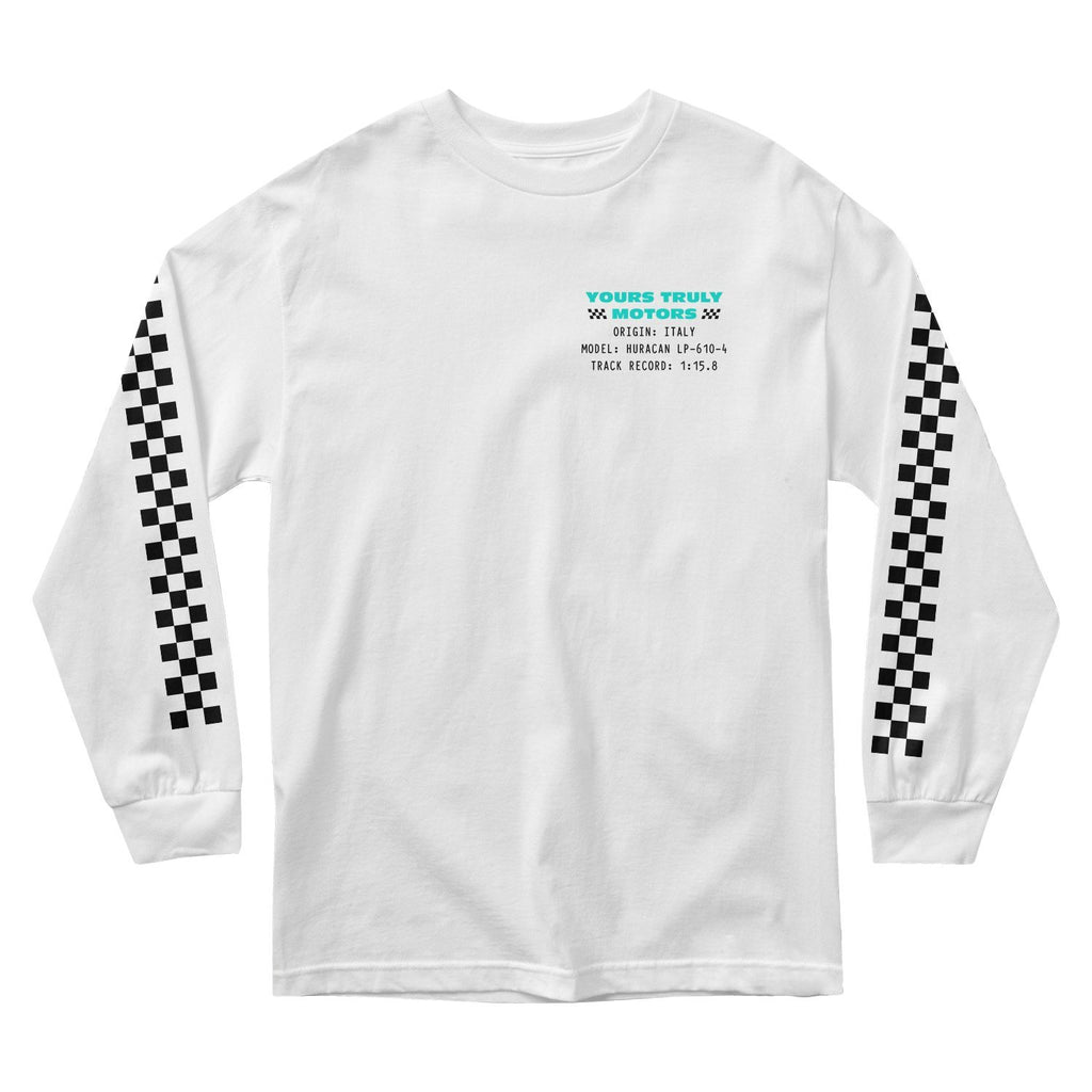 MEN'S LONG SLEEVE TEE - YOURS TRULY MOTORS: ITALY DIVISION LONG SLEEVE - WHITE