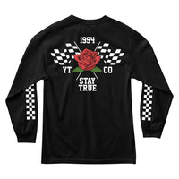 MEN'S LONG SLEEVE TEE - YOURS TRULY MOTORS ROSE LONG SLEEVE - BLACK