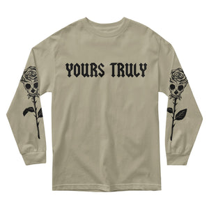 MEN'S LONG SLEEVE TEE - YOURS TRULY ROSE SKULL LONG SLEEVE - TAN