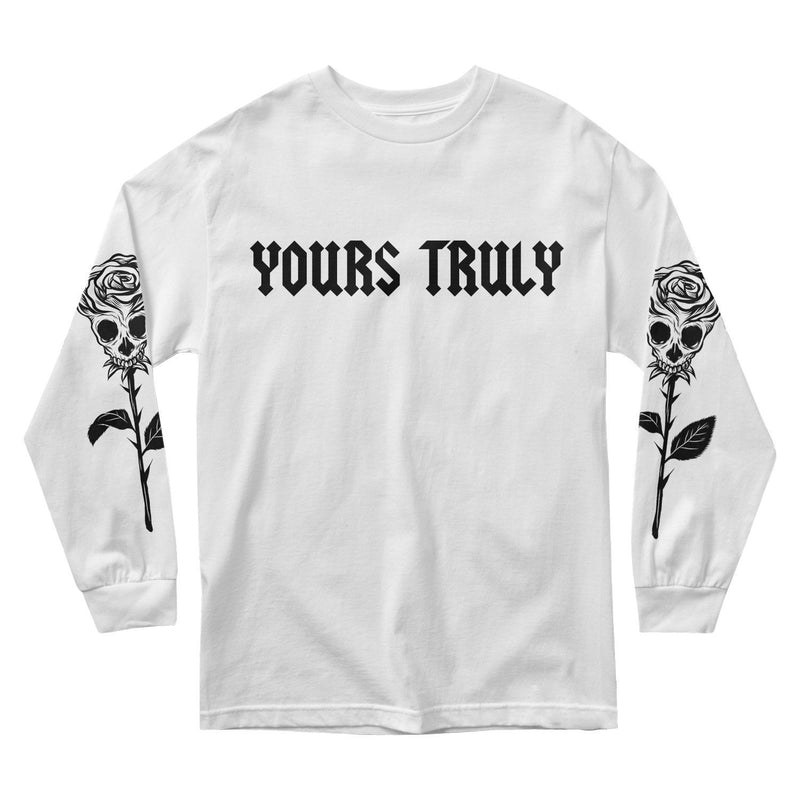 MEN'S LONG SLEEVE TEE - YOURS TRULY ROSE SKULL LONG SLEEVE - WHITE