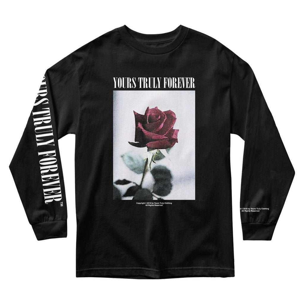 MEN'S LONG SLEEVE TEE - YOURS TRULY VINTAGE ROSE LONG SLEEVE - BLACK