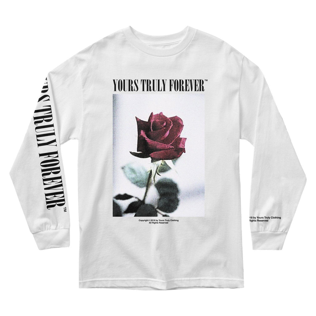 MEN'S LONG SLEEVE TEE - YOURS TRULY VINTAGE ROSE LONG SLEEVE - WHITE