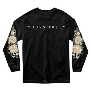MEN'S LONG SLEEVE TEE - YOURS TRULY WHITE ROSES LONG SLEEVE - BLACK