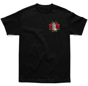 SHIRT - STAY TRUE PRAYING ROSES TEE - BLACK