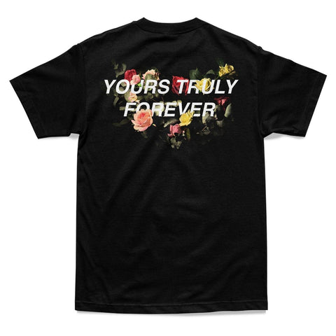 SHIRT - YOURS TRULY FOREVER FLORAL TEE - BLACK