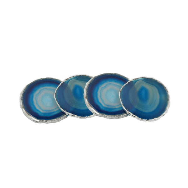 Silver Plated Brazilian Agate Coaster Set of 4 - Blue